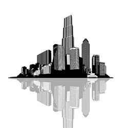 Black and white panorama of cityscape with place vector image