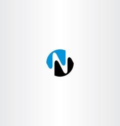 black blue n letter logotype symbol vector image