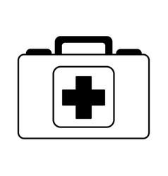 black icon medical bag cartoon vector image