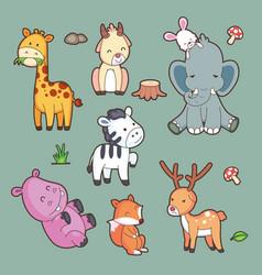 Cartoon characters cute set big set vector