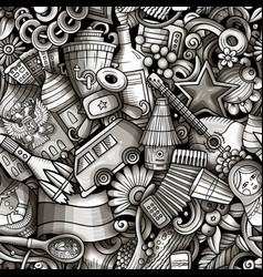 cartoon doodles russia seamless pattern vector image