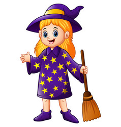 Cartoon little witch holding broomstick vector