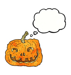 Cartoon pumpkin with thought bubble vector