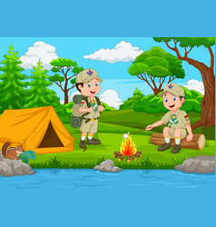 Cartoon scout with tent and camp fire vector