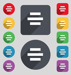 Center alignment icon sign A set of 12 colored vector