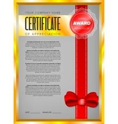 Certificate design in golden frame vector image vector image