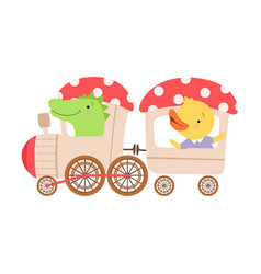Cheerful red cheeked crocodile and chicken driving vector