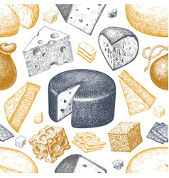 cheese seamless pattern hand drawn dairy vector image