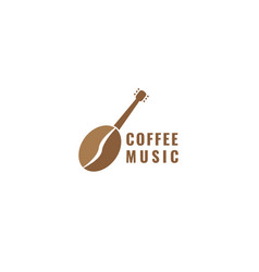 Coffee beans with guitar music logo design vector