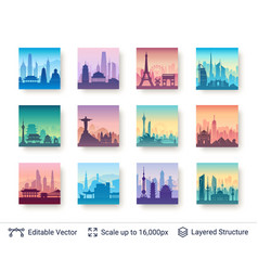 Collection of famous asian city scapes vector