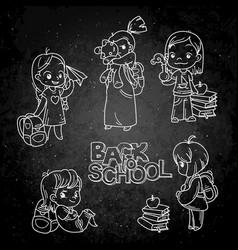Collection of school cartoon children vector