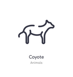 Coyote outline icon isolated line from animals vector