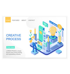 Creative process isometric landing page vector