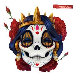 day dead dia de los muertos skull woman vector image