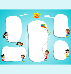 different children with blank posters with space vector image