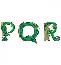Dragons Alphabet pqr vector