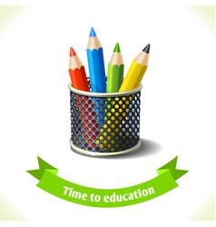 Education icon colored pencils vector image
