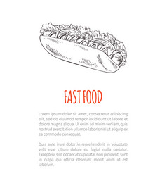 Fast food hot dog meal poster vector