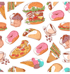 fast food seamless pattern with street snacks vector image