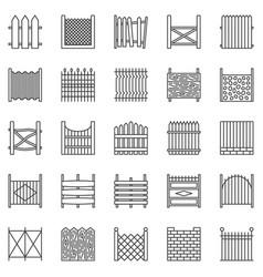 Fence outline icons set fences line vector