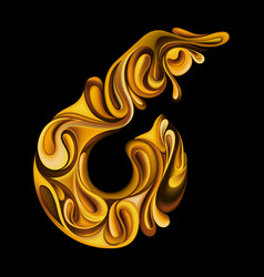 festive number 6 in liquid gold vector image