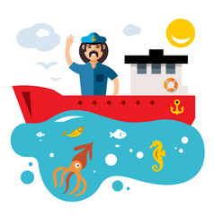 Fishing flat style colorful cartoon vector