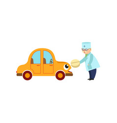 flat doctor giving pill to car with eyes vector image