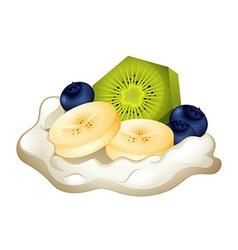 Fresh cream and fruits vector