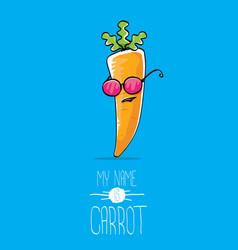 funny cartoon orange carrot character vector image
