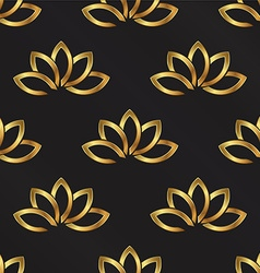 Golden Lotus plant pattern background Seamless vector