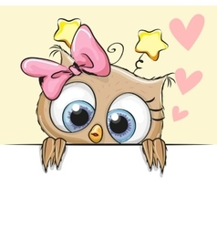 Greeting card cute Owl Girl vector