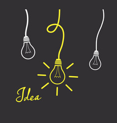 Hanging light bulbs reminding of an idea - dark vector