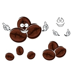 Happy brown coffee beans character vector