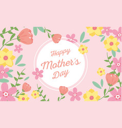 Happy mothers day flowers decoration ornate label vector