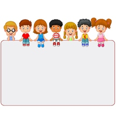 Happy smiling group of kids showing blank placard vector