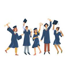 happy students celebrate university graduation vector image