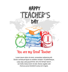 Happy teacher day with colorful school equipment vector