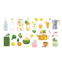 Healthy drinks set summer beverage vegan vector