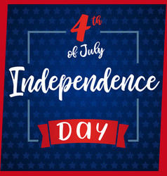 independence day greeting card blue star vector image
