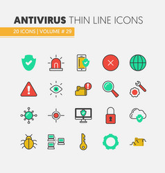 Internet security linear thin icons set vector