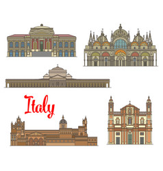 italian travel landmarks of arts and religion vector image