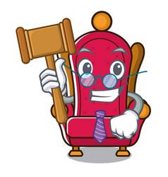 Judge king throne mascot cartoon vector