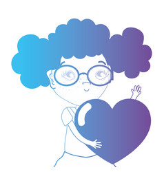 line avatar girl with hairstyle and heart design vector image