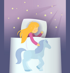 Little girl dreaming about blue pony vector