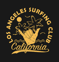 los angeles surfing club california grunge print vector image