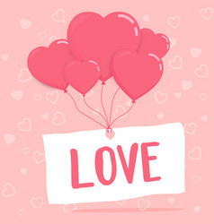 love on paper with heart balloons vector image