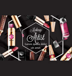 Make up card with lipsticks cosmetics set vector