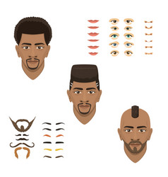 Man face emotions constructor parts eyes nose vector