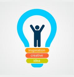 man inside bulb creative concept vector image
