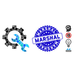 Mosaic service tools icon with grunge marshal vector
